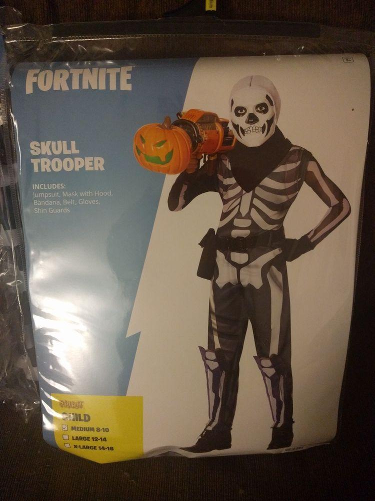 Fortnite Skull Trooper Costume Childs Kids M Spirit Halloween Ships