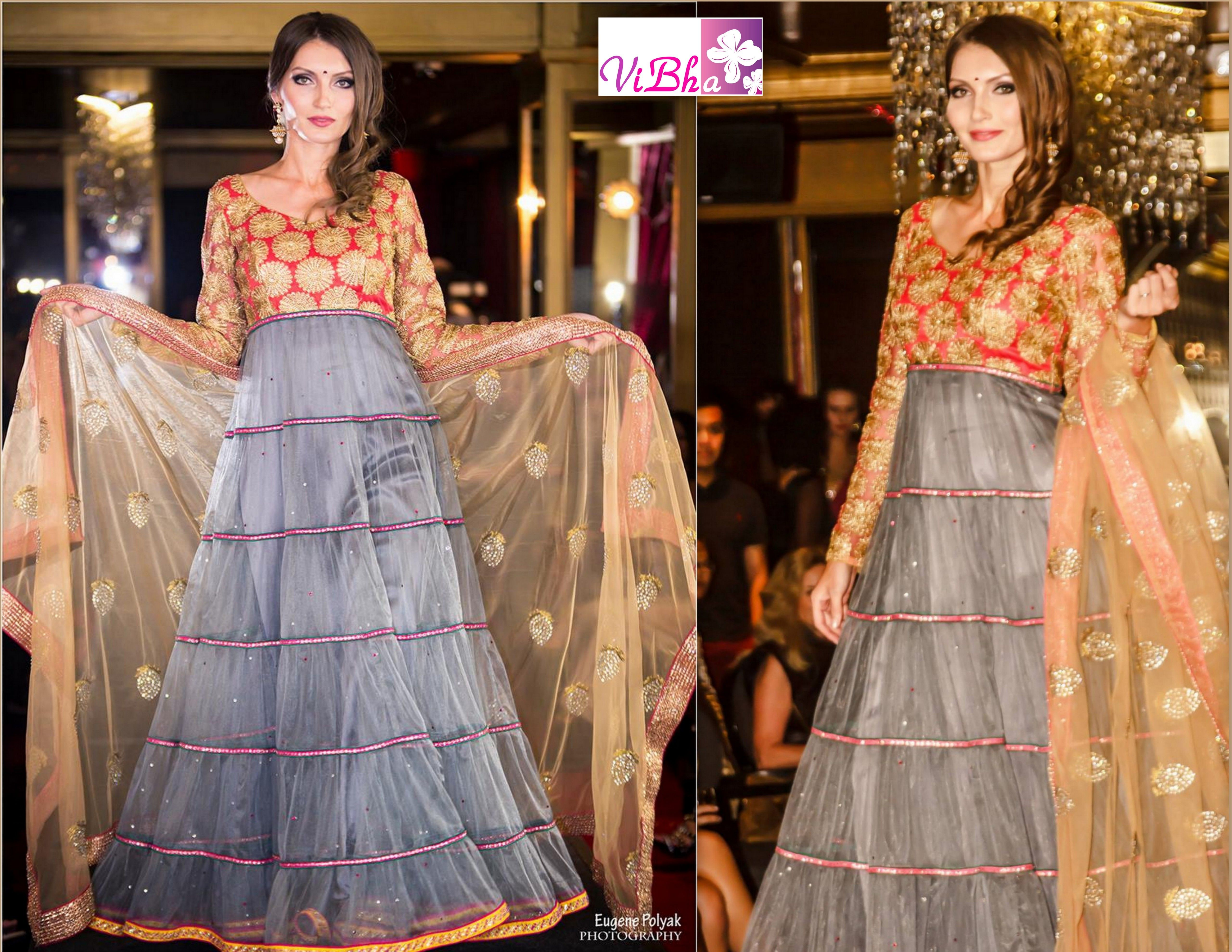 Beautiful floor length anarkali gown showcased in Fashion Community Week fashionshow!! Carmine red, aluminum grey and golden color shades are used in the design as per the theme. For inquiries mail to vinaya.gv@gmail.com