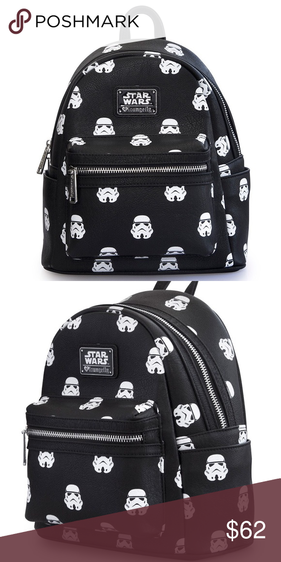 Star Wars Stormtrooper Mini Backpack NEW STAR WARS PRINTED FAUX LEATHER  MINI BACKPACK. WITH EXTERIOR SIDE POCKETS. MEASUREMENTS  W  9