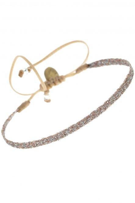 armband guanabana metallic rose textil duenn