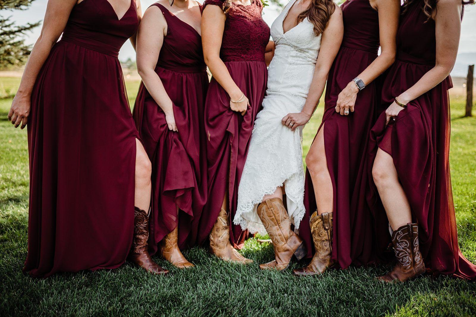 Maroon And Gray Wedding Party With Cowboy Boots Country Bridesmaid Dresses Maroon Bridesmaid Dresses Wedding Cowboy Boots