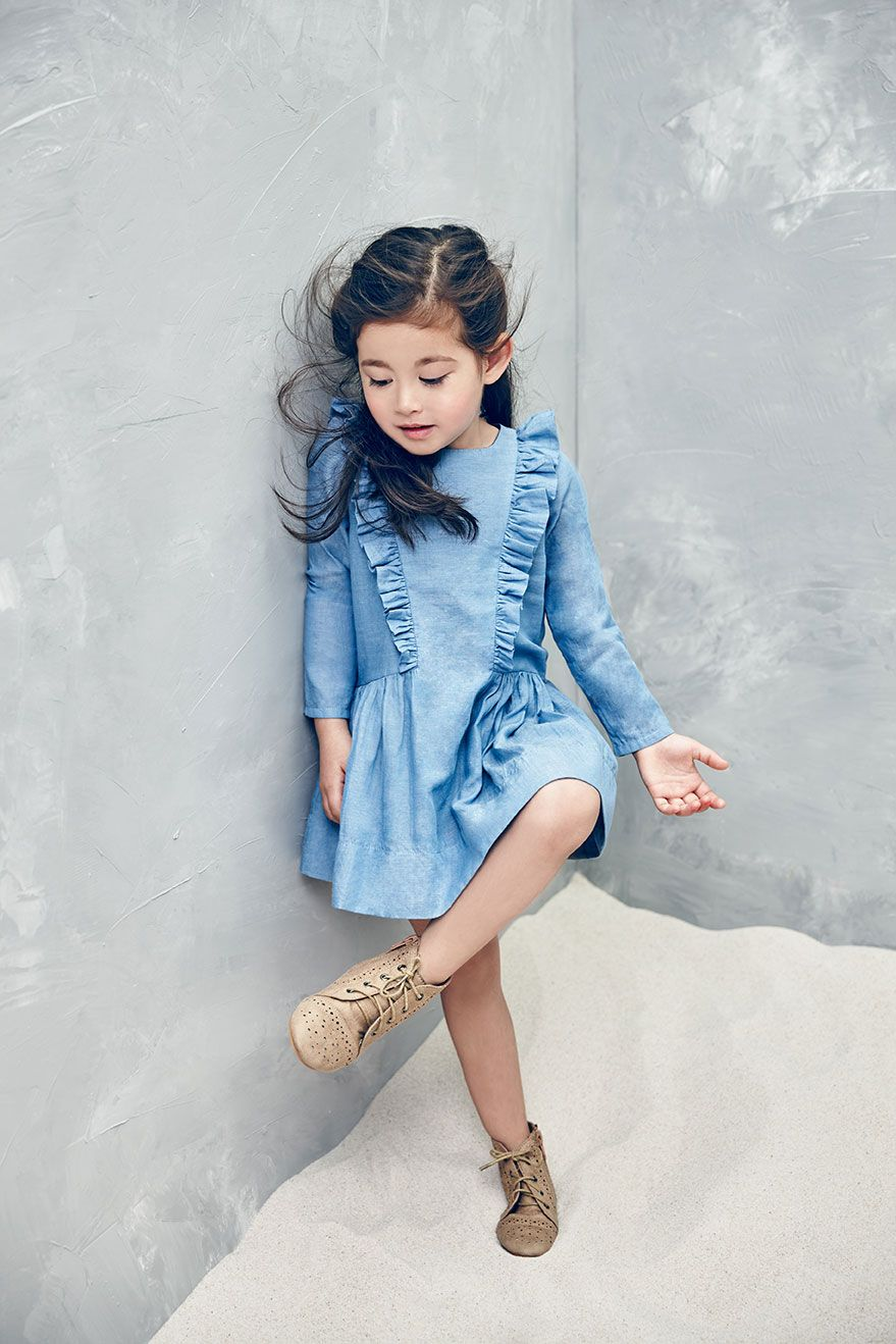 Little Girl Cotton Dress With Ruffle Side Seam Detail In
