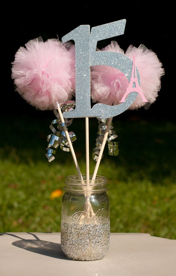 paris party eiffel tower pink and silver centerpiece table decoration pines carmen pinterest. Black Bedroom Furniture Sets. Home Design Ideas