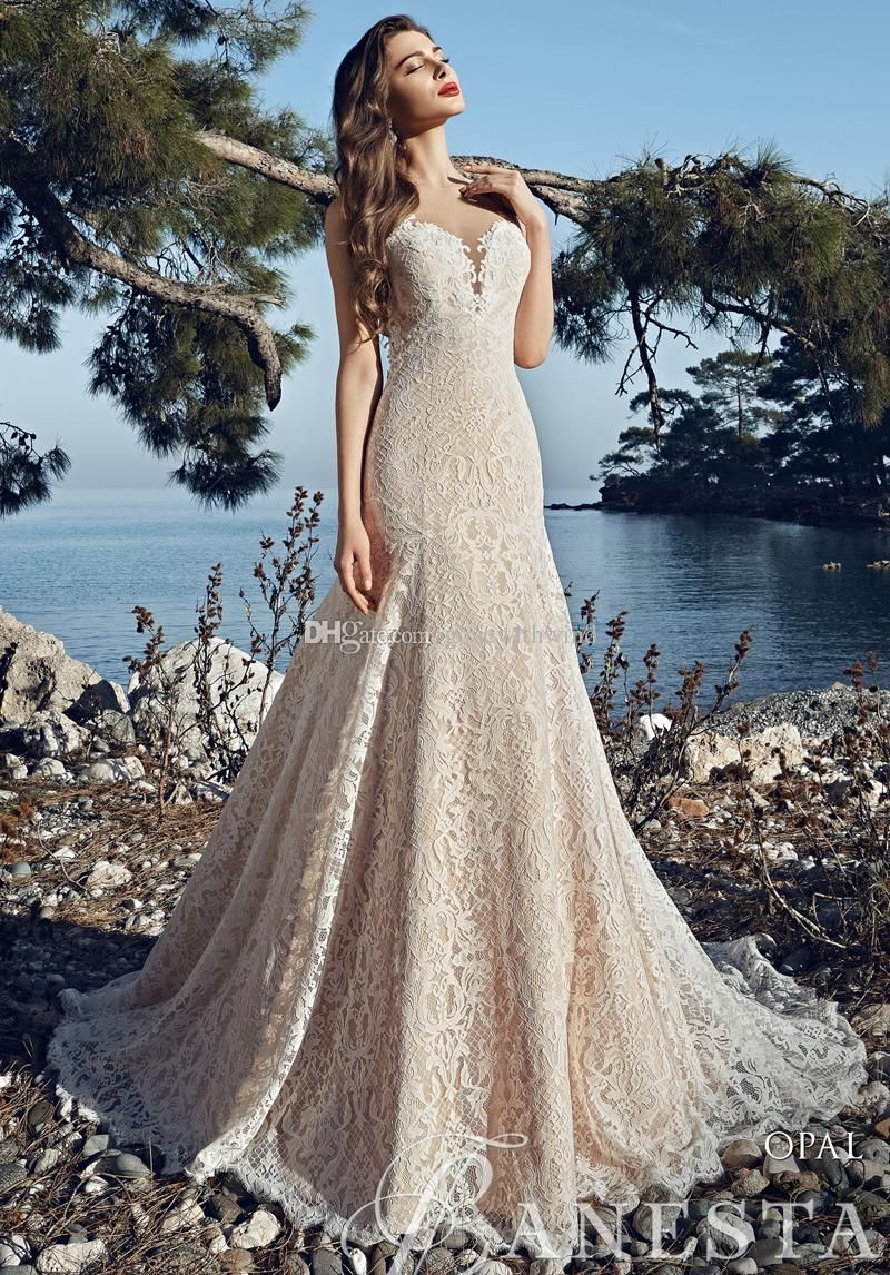 Champagne Lace Mermaid Beach Wedding Dresses 2017 Halter Neckline Sleeveless Backless Chaple Train Fit And Flare