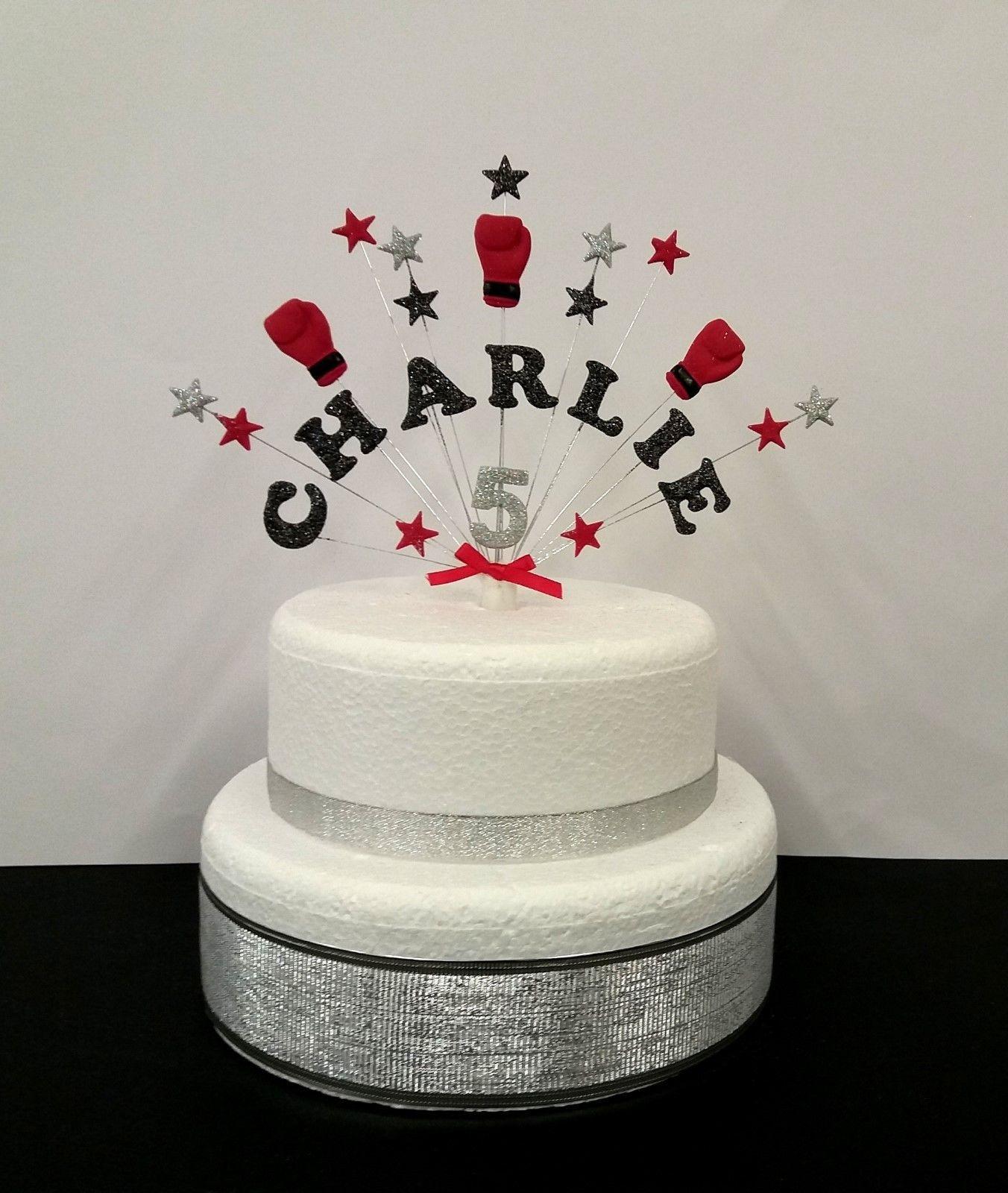 Boxing personalised name age birthday celebration cake