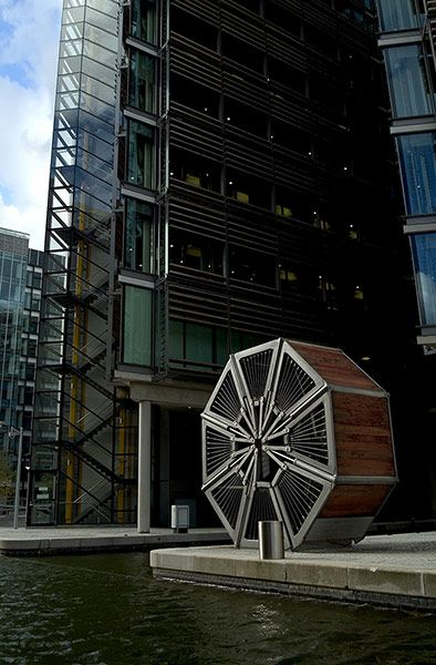 The Rolling bridge in rolling position by Thomas Heatherwick,  in Paddington, London.