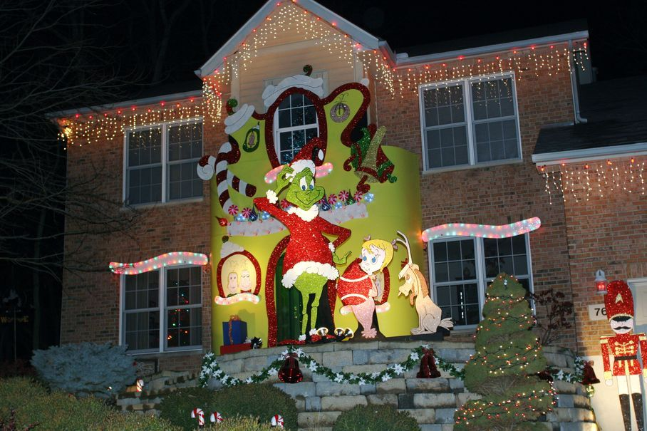 Grinch Enlivens Home's Elaborate Decorations