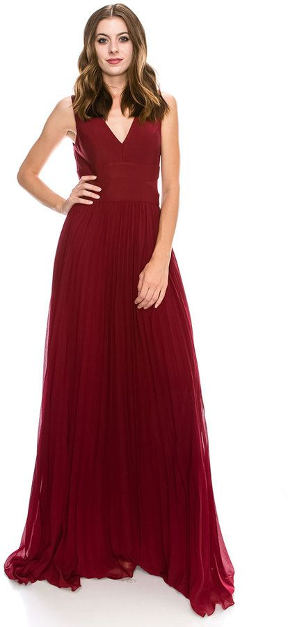 21919079247e5 Burgundy Modest V-Neck Pleated Long Dress Classy Elegant Party Dress  #partywear #holidaystyle