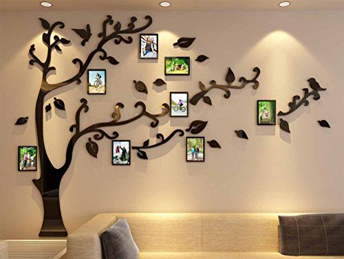 3d Picture Frames Tree Wall Murals for Living Room Bedroom Sofa Backdrop Tv Wall Background, Originality Stickers, Wa...