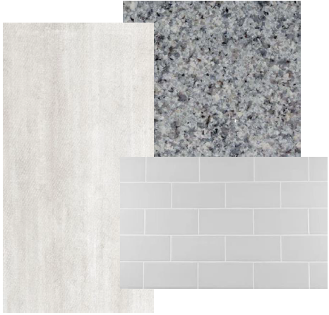 Owners Bathroom Grey Subway Tiles Azul Platino Granite Tub Surround