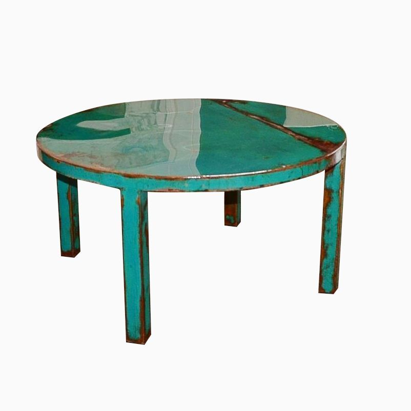 Ordinaire Custom Made Custom Round Metal Coffee Table Art With Beautiful Turquoise  And Jade Green Paint Color