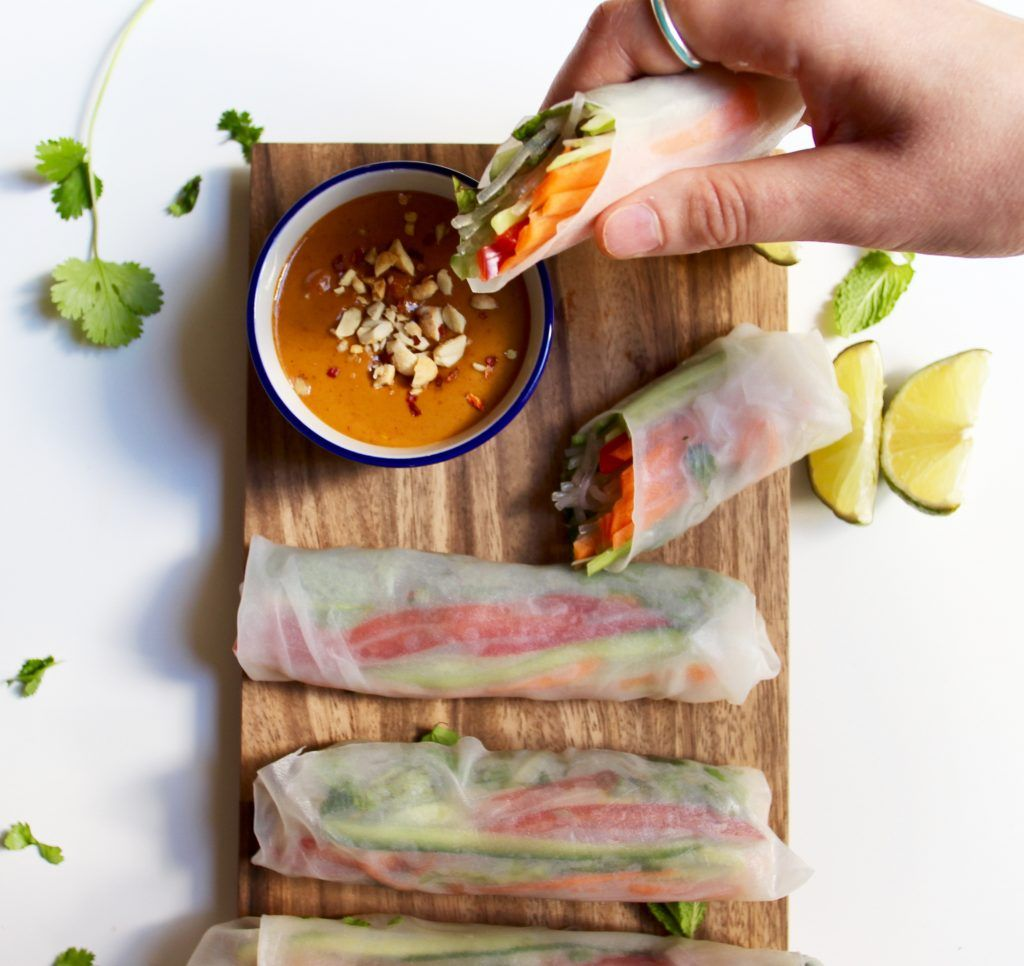 Fresh Vietnamese Spring Rolls With Spicy Peanut Sauce Recipe Vietnamese Spring Rolls Spring Rolls Vegetable Spring Rolls