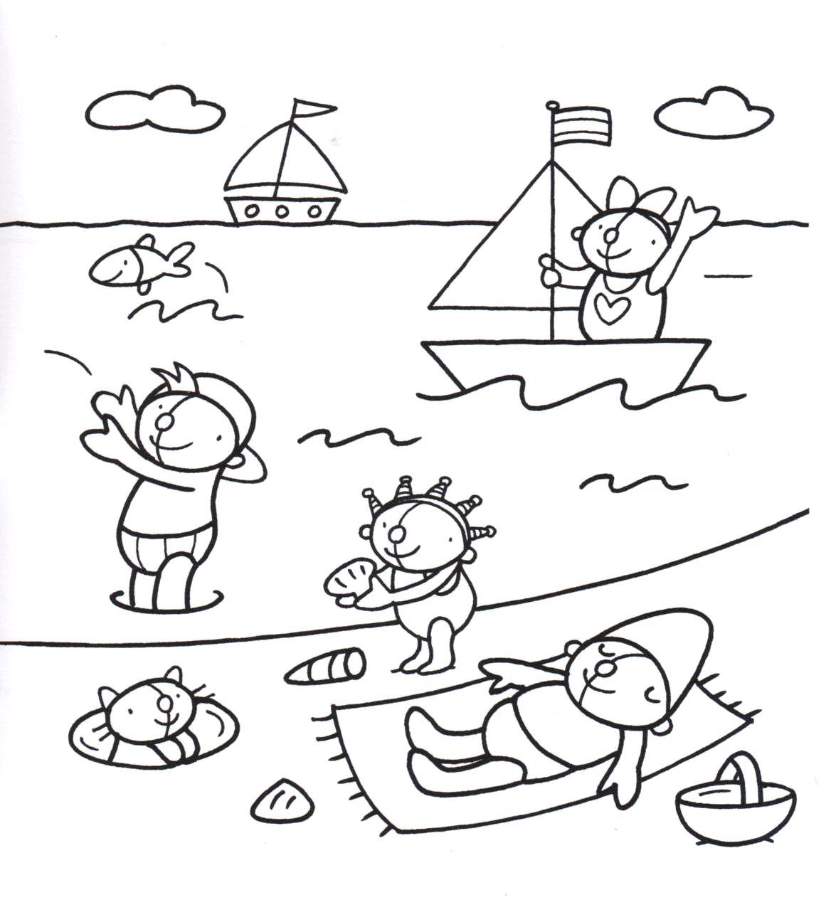 Kleurplaat Pompom Op Het Strand