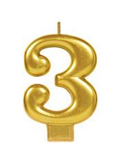 Gold Number 3 Birthday Candle Party City