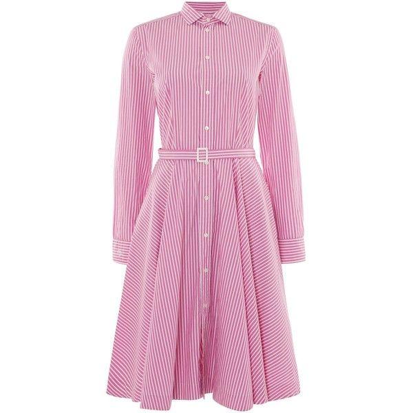 Polo Ralph Lauren Dori long sleeve stripe shirt dress ($205) ? liked on  Polyvore