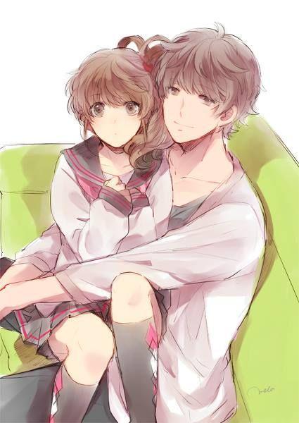 Anime girl sitting in boys lap