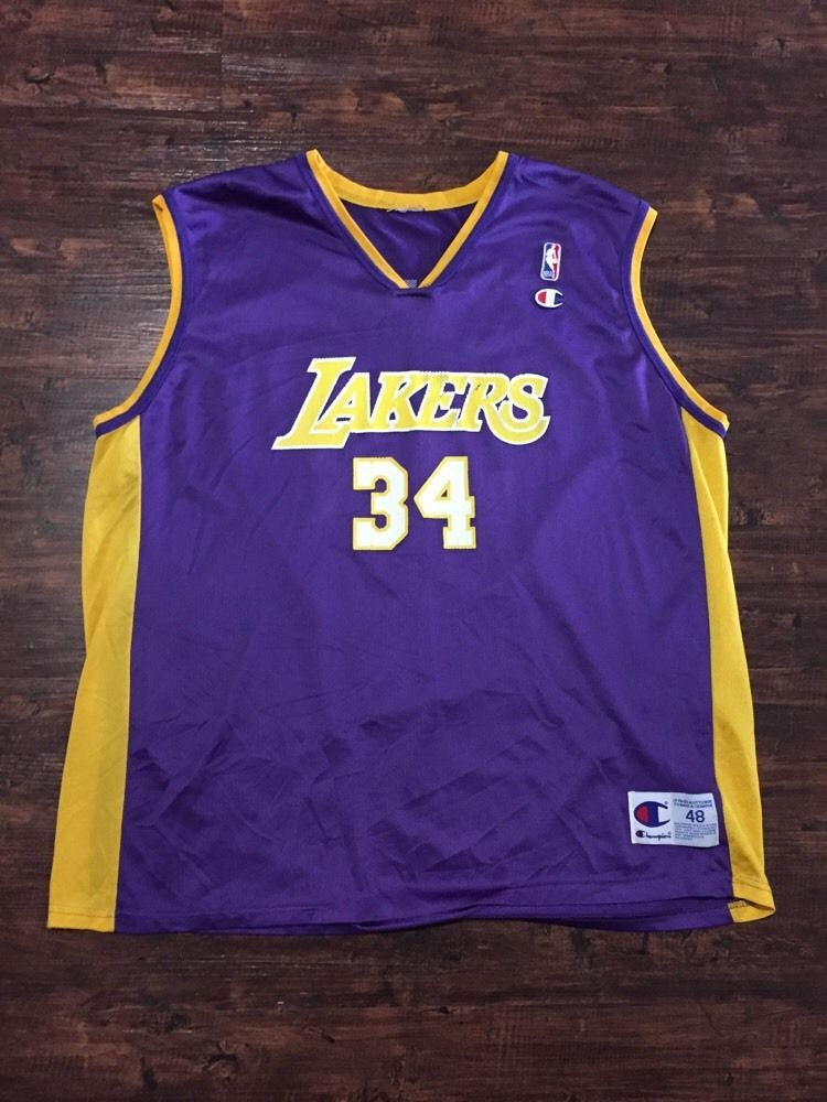 Shaquille O neal  34 Los Angeles Lakers Champion Jersey Vintage  NBA Shaq  Mens 48 from  9.97 1829a654b