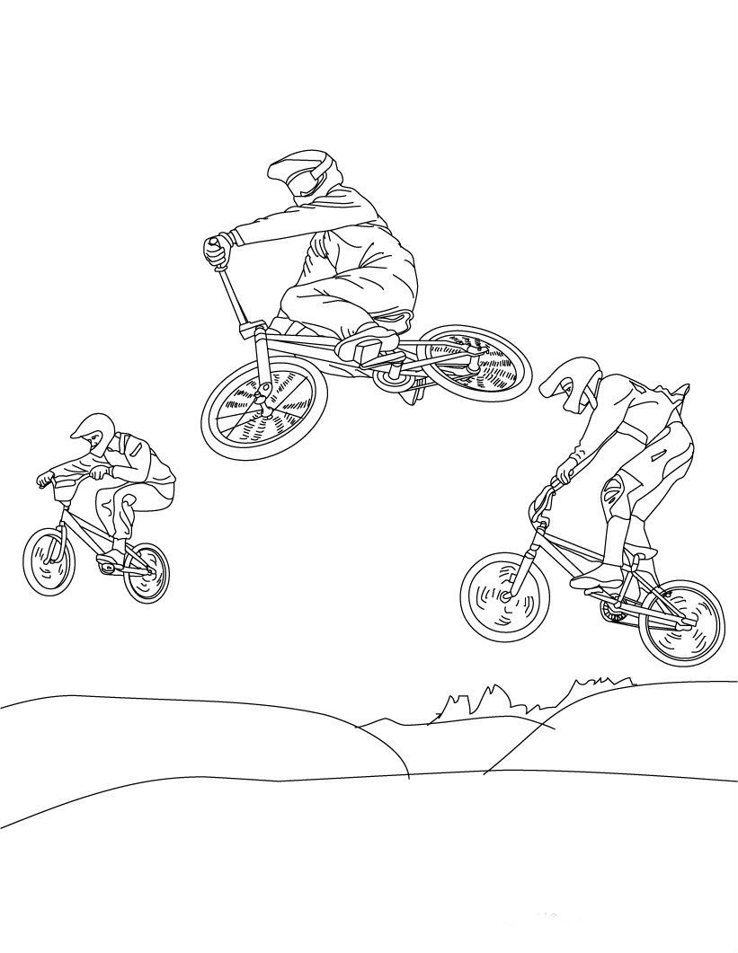 Style Racing Bike In Summer Coloring Pages For Kids Bdt Printable Summer Sports Coloring Pages For Kids