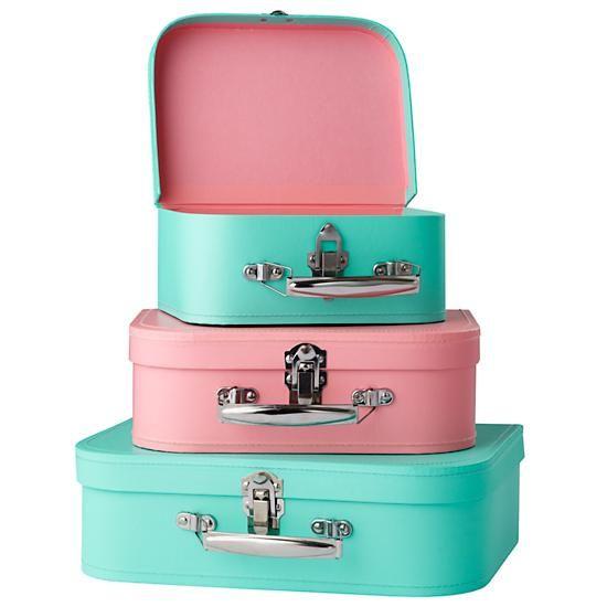 The Land of Nod   Aqua/Pink Bon Voyage Suitcase Set/3 in Tabletop ...