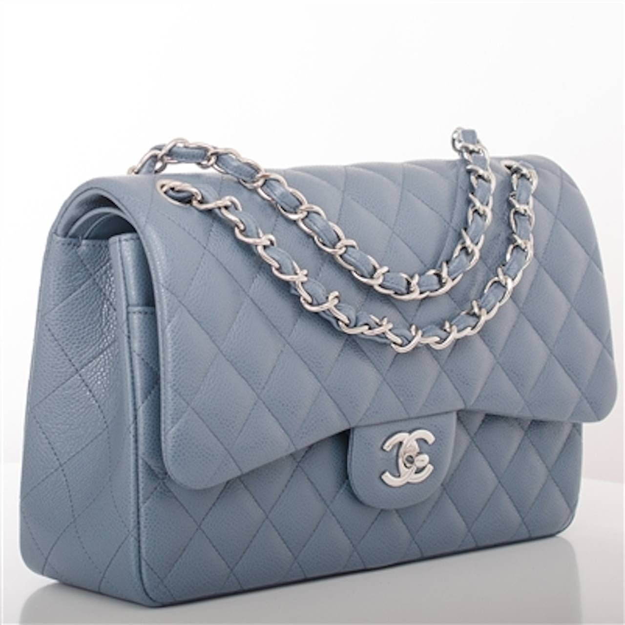 f5514bd3e44525 Chanel Blue Quilted Caviar Jumbo Classic 2.55 Double Flap Bag | 1stdibs.com