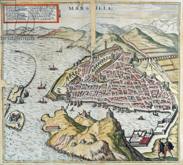View Of Marseille In The 16th Century Showing The Hospital For Lepers At The Bottom Left From Le Theatre Du Monde By Georg Braun 1599 Coloured Engraving Carte De Marseille Marseille
