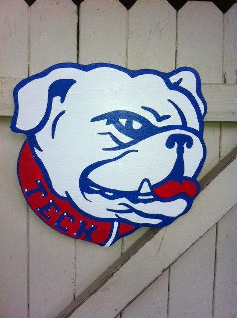 Photo of Louisiana LA Tech Bulldog Wooden Door Hanger Hand Painted