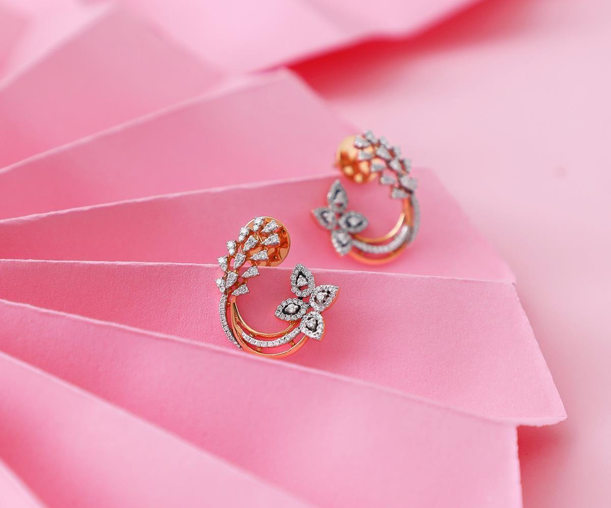 Pink #Diamond #Earrings #RoseGold #MJJewellery #Manubhai #Borivali ...