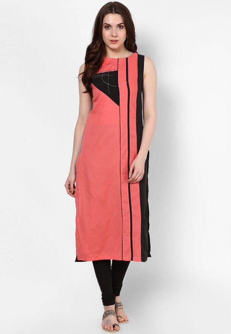 8384cbfb582 W Pink Solid Kurta - Buy W Women Kurtis   Kurtas Online ...