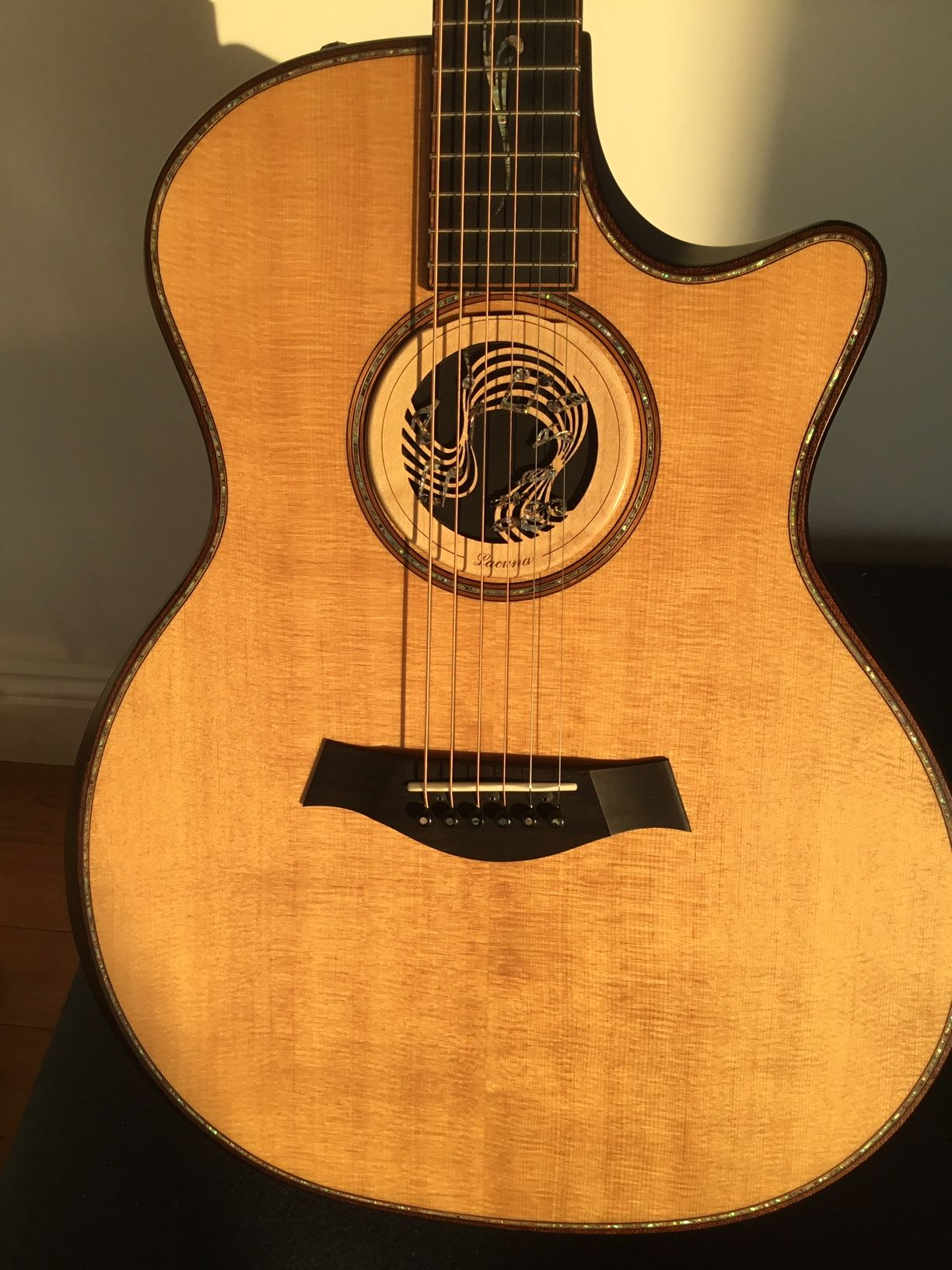 Custom Acoustic Guitar Sound Hole Insert With Natural Shell Inlay Music Notes Design Custom Acoustic Guitars Guitar Custom Guitar