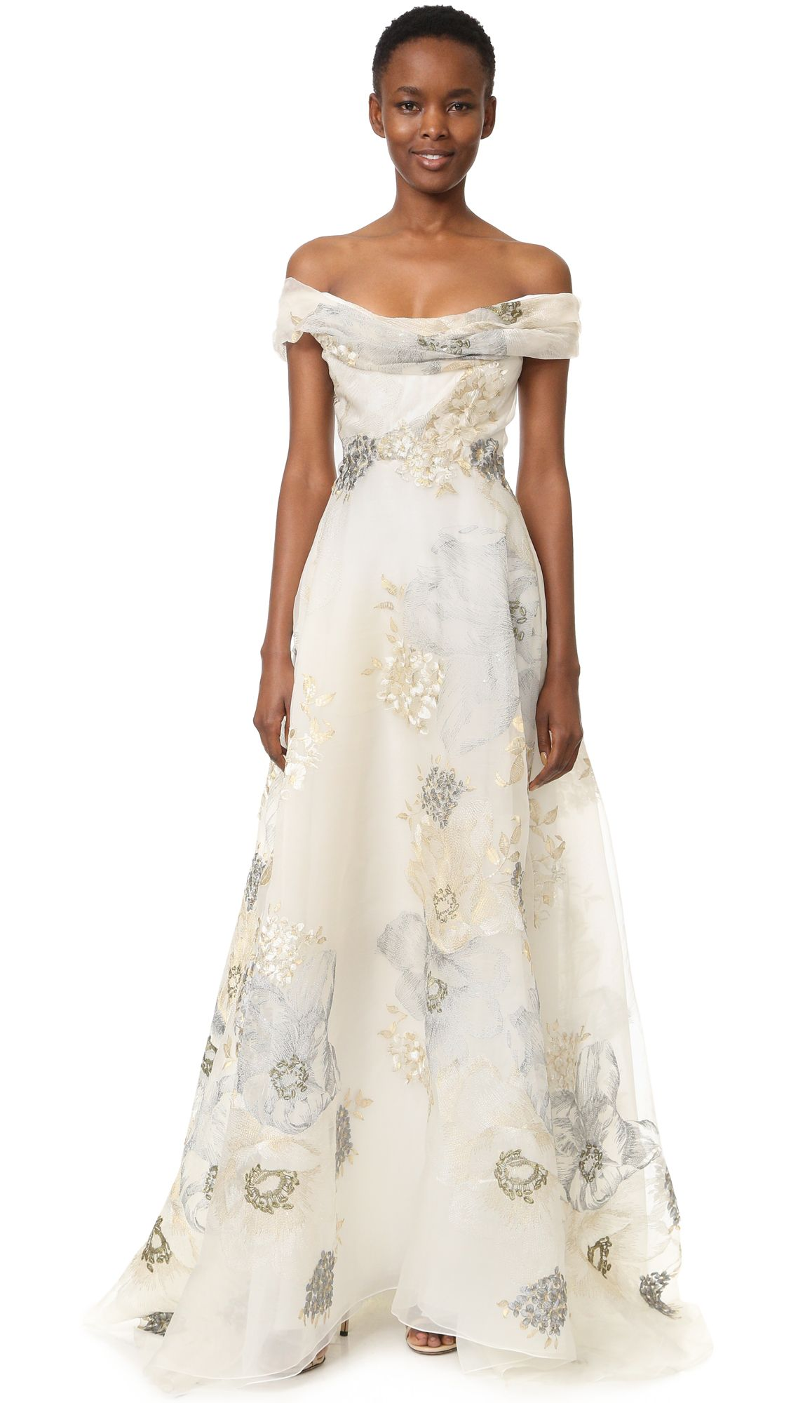 Marchesa off shoulder aline gown gowns pinterest marchesa