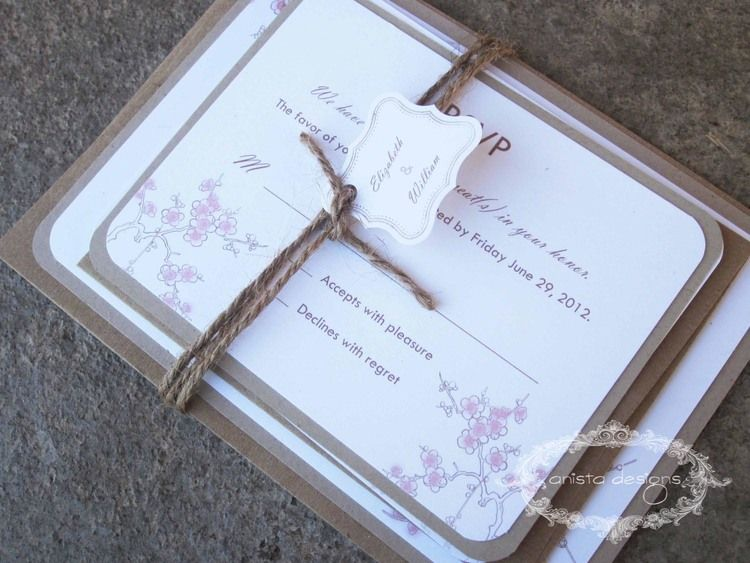 Rustic Floral Collection - Cherry Blossom Invitation