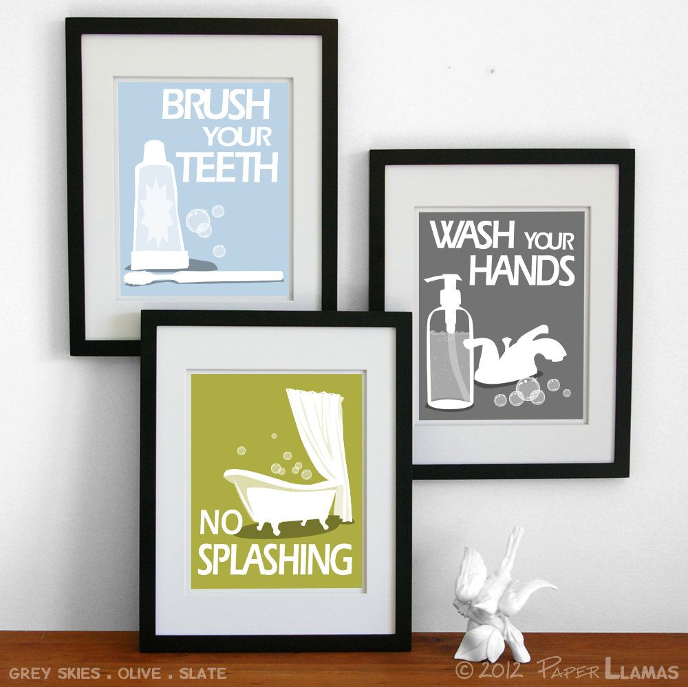Kids Bathroom Wall Art bathroom art prints, wash your hands, brush your teeth, children's