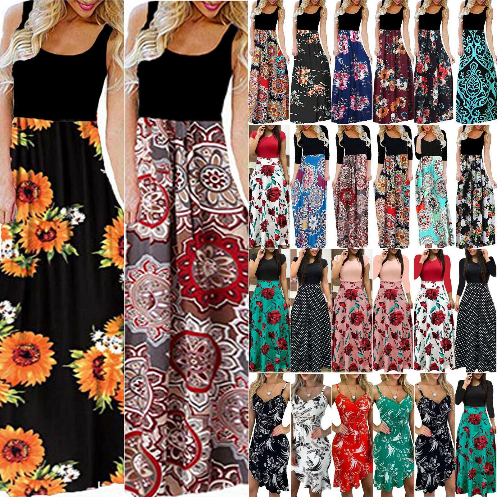Damen Blumen Maxikleid Strandkleid Sommerkleid Cocktail Abendkleid Partykleid 48