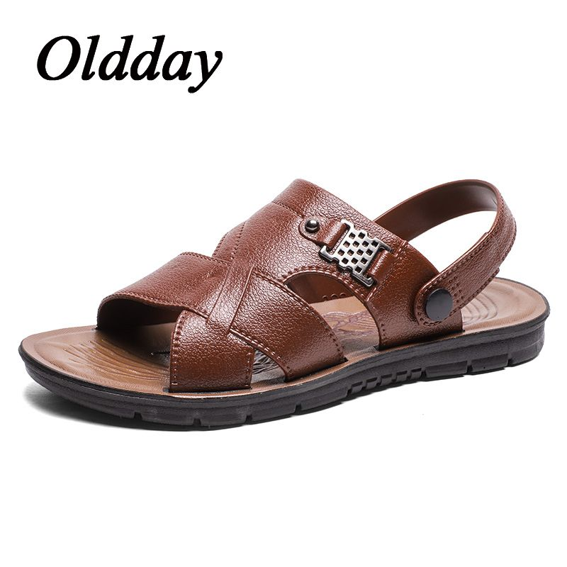 94a108facc04 Mens Sandals 2018 Summer Outdoor Male Beach Slide Sandals Leather Shoes  Luxury Brand Fashion Breathable Casual Male Footwear