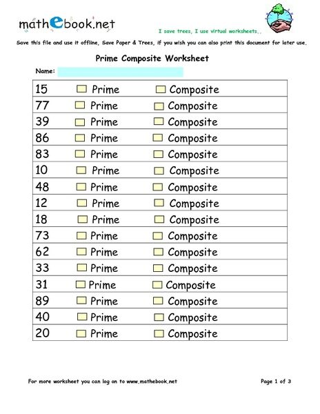 Image Result For Prime And Composite Numbers Worksheet Education