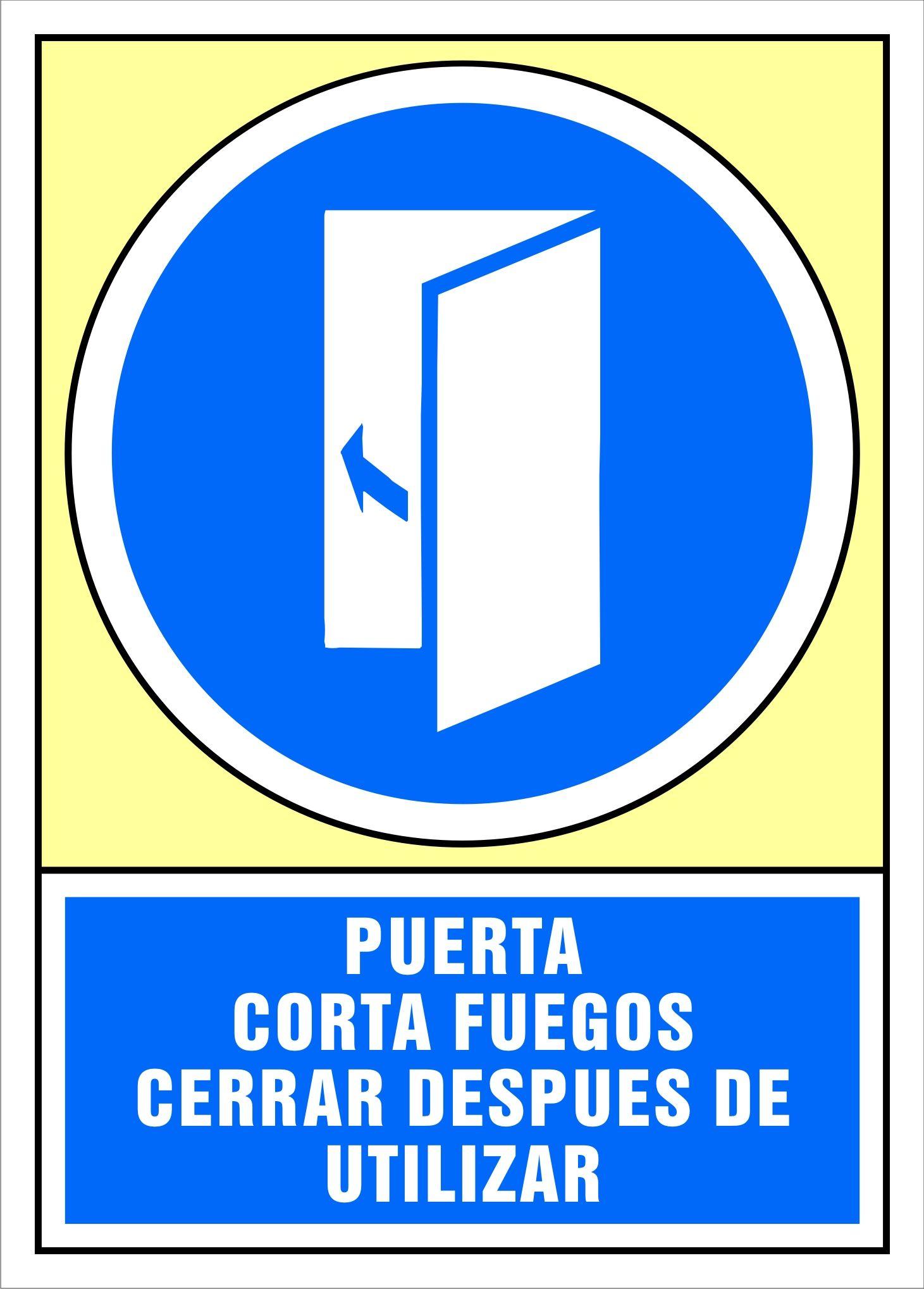 Senal Puerta Corta Fuegos Cerrar Despues De Utilizar Carteles De