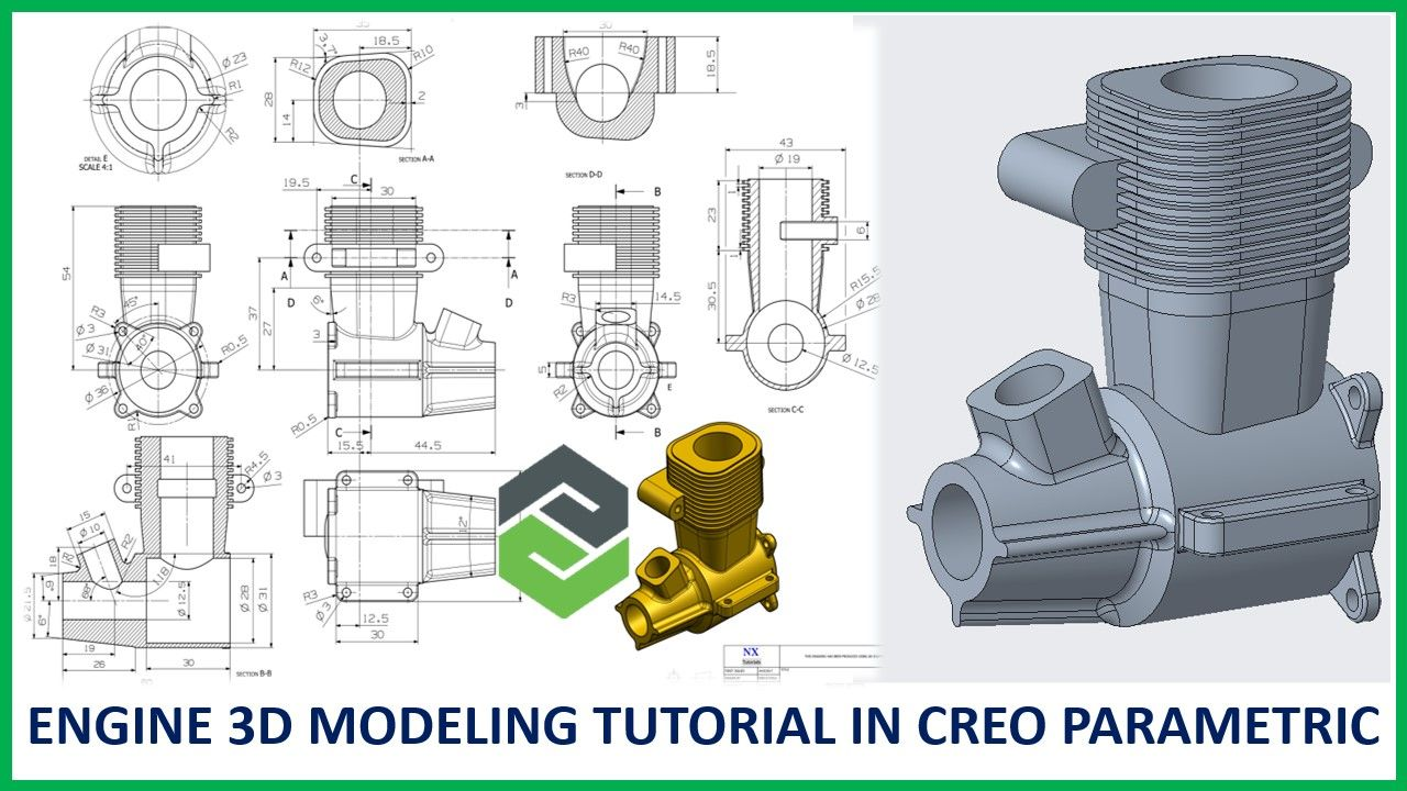 Engine In Creo 3d Modeling Tutorial Mechanical Design 3d Model