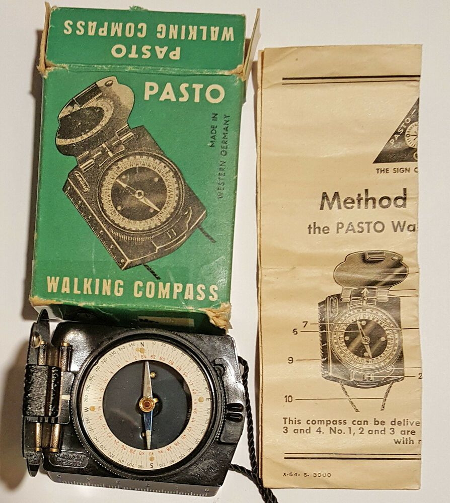 Vtg Pasto Walking Compass w/ Original Box & Instructions