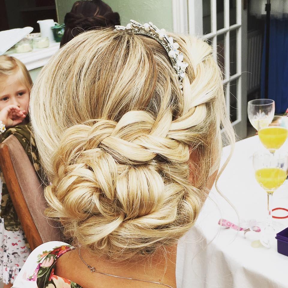 braided messy side bun wedding hair | Wedding hair | Pinterest ...
