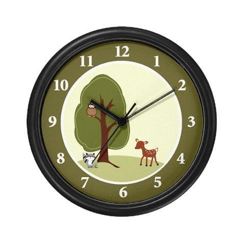 Lightweight Black Plastic Framed Woodland Creatures Deer Raccoon And Owl Wall Clock 10 By Art By Jess 23 99 Lightwe Unique Wall Clocks Clock Home Kitchens