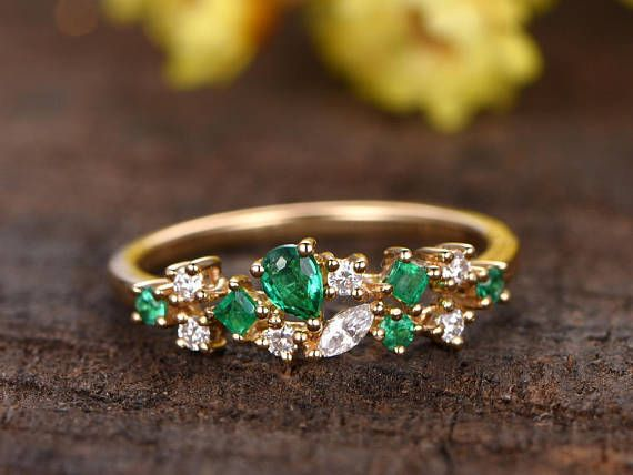 Solid 14k Yellow Gold Emerald Engagement Ring Diamond Wedding Band Stackable Prom Diamond Wedding Bands Stackable Diamond Wedding Bands Emerald Engagement Ring