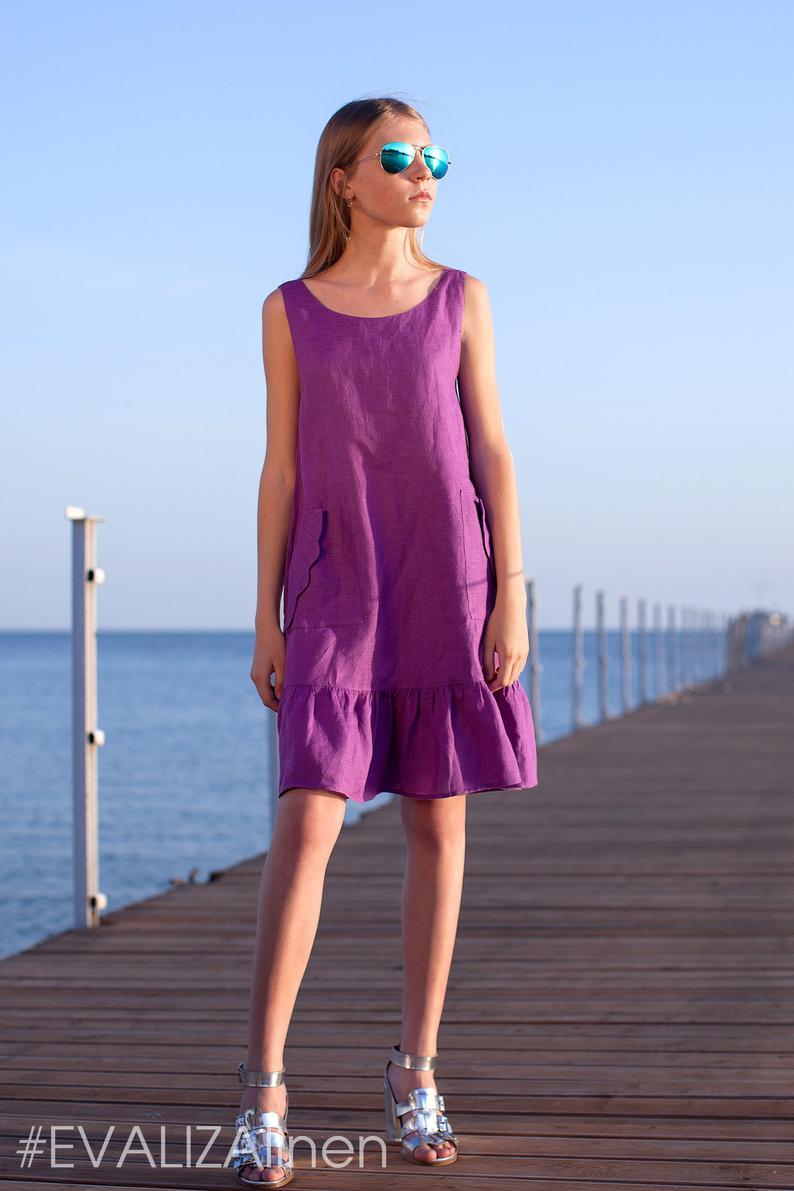 Ultra Violet Linen Sleeveless Girls Dress With Ruffles Pocket Etsy Organic Kids Clothes Girls Dress Outfits Dresses For Teens [ 1191 x 794 Pixel ]