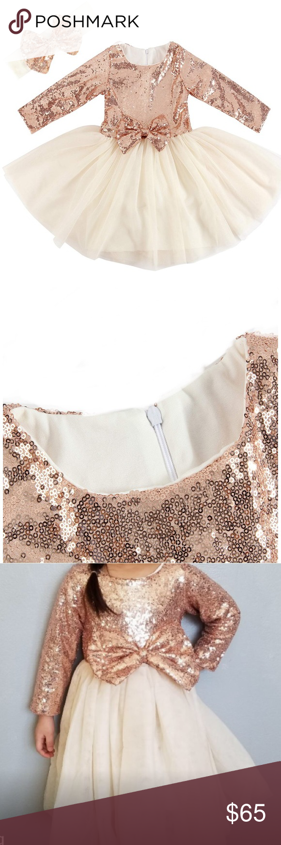 12m 4t Sequin And Tulle Holiday Dress Headband Rose Gold Sequin Long Sleeve Dress With Creamy Tulle Skirt Dresses Long Sleeve Sequin Dress Clothes Design [ 1740 x 580 Pixel ]