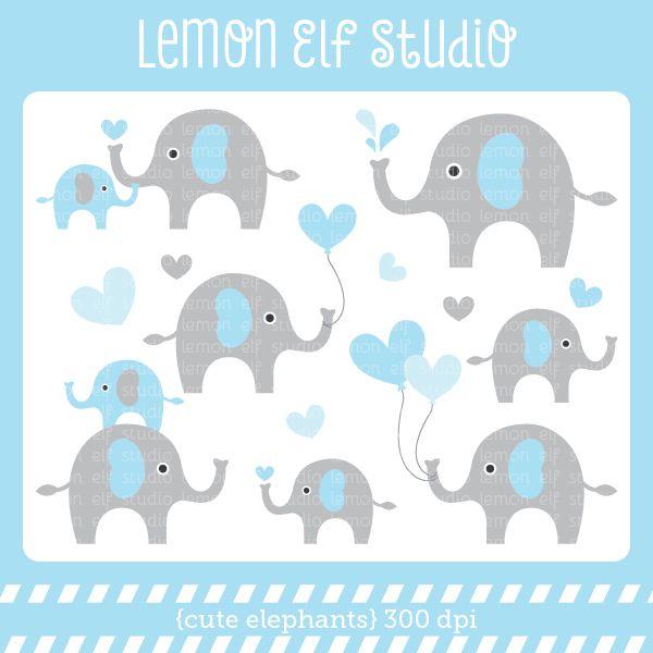 Cute Elephants Blue Digital Clipart   Baby Shower   Pinterest ...