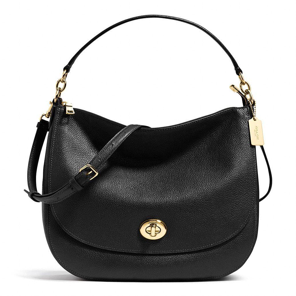 Coach Turnlock Leather Hobo Handbag
