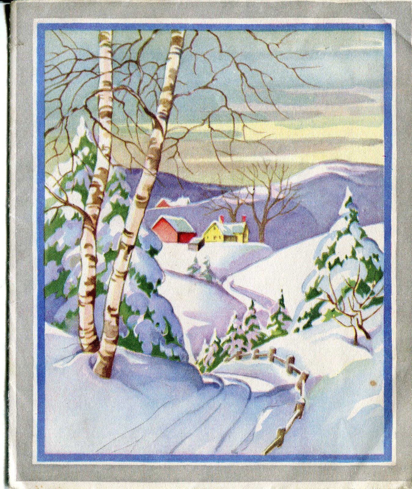 Vintage Whitman Christmas Card Farm in The Snow | eBay