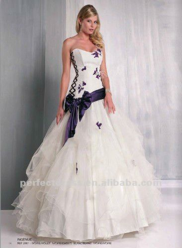 Latest new design purple and white wedding dresses NSW4127, View ...