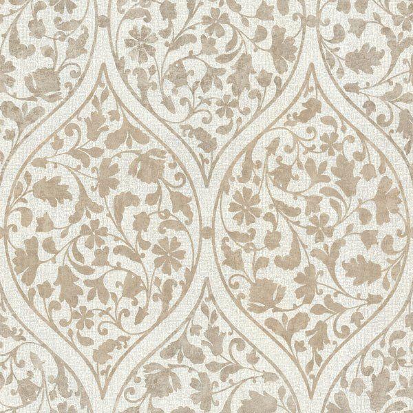Adelaide Light Brown Ogee Floral Wallpaper Design By Brewster Home Fas Burke Floral Wallpaper Brewster Wallcovering Transitional Wallpaper
