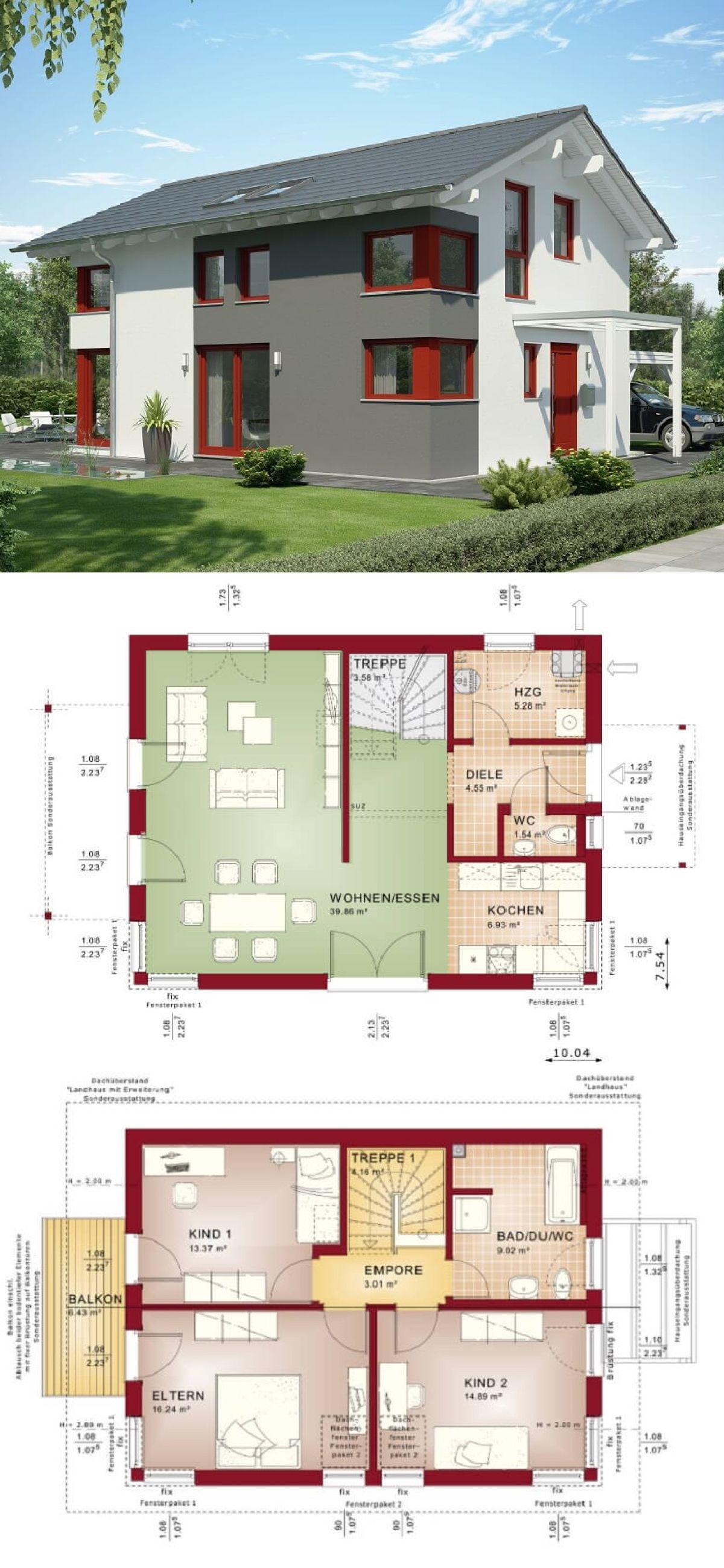 Modernes Einfamilienhaus Mit Satteldach Architektur U0026 Putz Fassade Grau,  Weiß, Rot   Haus Bauen