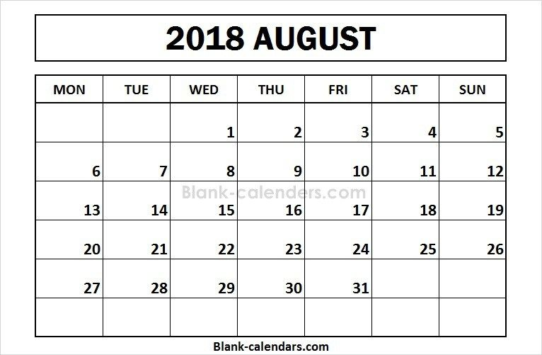 Calendar Monday Start : Printable august calendar monday start